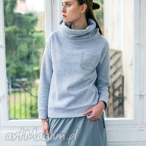 COME IN Oversize Bluza rozm L/XL, oversize, bluza, golf, casual, bawełna, szary