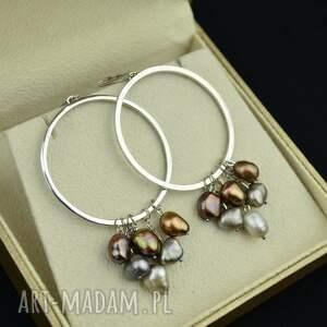 duże kolczyki koła z perłami srebro, boho perły, koła