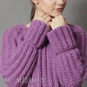 Wrzosowy sweter, wrzosowy, dziergany, wełniany