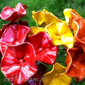 Ceramiczne kwiaty na druciku na rabatki do donicy na bukiety - kwiat, kwiaty