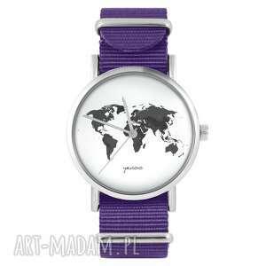 zegarek - mapa świata fioletowy, nylonowy, zegarek, nylonowy pasek, typ