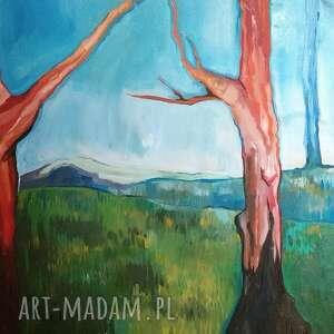 obraz olejny 100x70 czerwone drzewa, olejny, malarski, pejzaż, natura