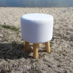 Pufa Biała Gładka - 36 cm, puf, taboret, ryczka, vintage, siedzisko,