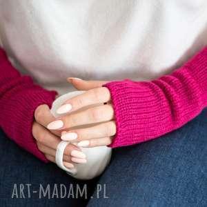 mitenki - fuksja rękawiczki, wełna, wełniane