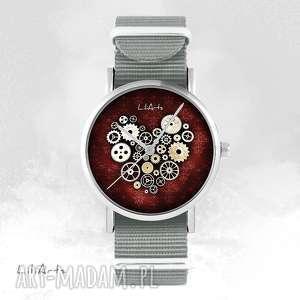Zegarek, bransoletka - steampunk heart szary, nato zegarki