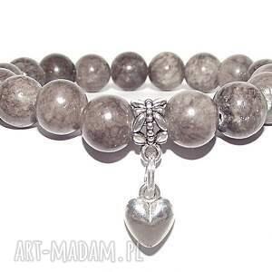 czakibransoletki czaki bransoletki serduszko w szarości, serce, serduszko, kamienie