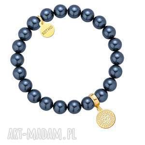 Morska bransoletka z pereł SWAROVSKI® CRYSTAL ze złotą rozetką, bransoletka, morska
