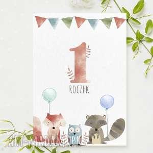zaproszenie na 1 urodzinki z liskiem roczek urodziny - 3 sztuki, zaproszenia