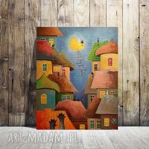 BAJKOWE MIASTECZKO KOTÓW - obraz akrylowy formatu 40/50 cm, miasteczko, koty, obraz,