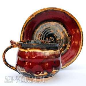 zestaw ceramiczny - jt181, filiżanka, talerzyk, zestaw, ceramika, użytkowe, unikatowe