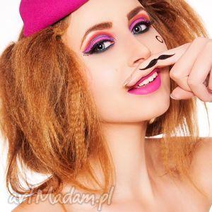 ozdoby do włosów pan z wąsem, fascynator, filc, toczek, fuksja, naszywki, święta