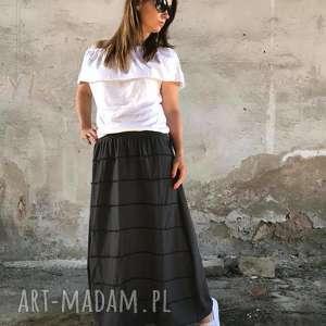 szara długa spódnica - ququ design, boho spódnica, maxi