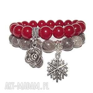 hand-made bransoletki czaki bransoletki komplet róża i śnieżynka
