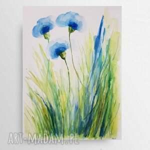 niebieskie kwiatki-akwarela formatu