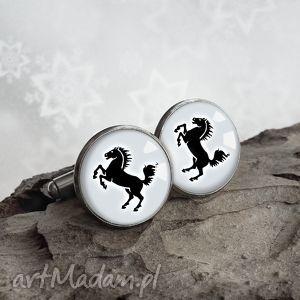 czarny koń efektowne modne męskie spinki do koszuli, konie, koniem, czarne, szare