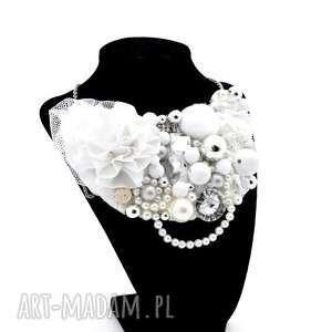 whiter shade of pale naszyjnik handmade - naszyjnik, biały, jasny, srebrny