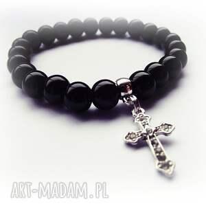 czaki bransoletki krzyżyk w czerni, krzyżyk, krzyż, glamour, prezent, rockowa, modna