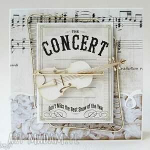 kartka ze skrzypcami - skrzypce, koncert, zaproszenie, życzenia