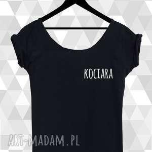 koszulka bluzka damska czarna kociara, dla-niej, koszilka, kotki