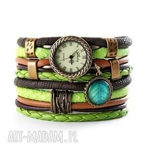 zegarki zegarek - bransoletka, zielono - brązowy z liściem, zegarek bransoletka