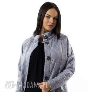 Płaszcz damski Argento, srebrny, zapinany-na-napy, płaszcz-damski, wełna, wełniany