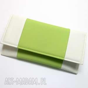 kopertówka - biała i środek jasny zielony, elegancka, nowoczesna, wesele