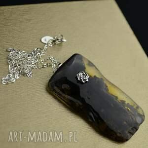 minimalistyczny naszyjnik z naturalnym bursztynem srebro