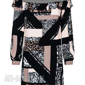 Sukienka z tiulem w dekolcie rozmiar 44, hiszpanka, tiul, lużna, drukowana, modna