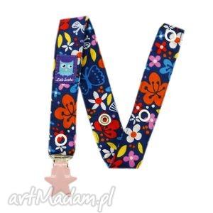 zawieszka do smoczka, wzór kwiaty, klips serce - zawieszka, smoczek, tasiemka, kwiaty