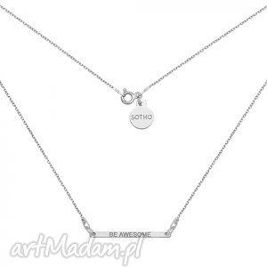 srebrny naszyjnik z delikatną blaszką be awesome - minimalistyczny