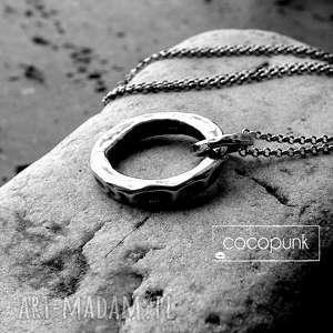 ręcznie zrobione naszyjniki naszyjnik kółko długi-grube koło, srebro