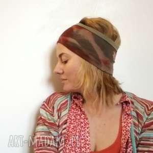 ręcznie farbowana opaska szeroka, opaska, bawełna, włosy, kolorowa