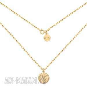 złoty masywny łańcuszek z monetą - pozłacany, naszyjnik