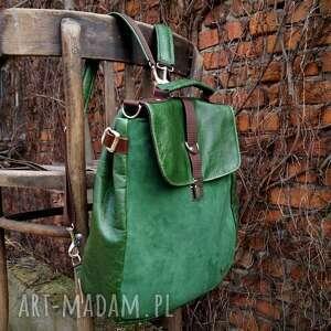 ręczne wykonanie lilith plecak/torba zielona skóra