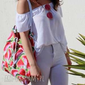 na ramię duża torba i plażę arbuzowa, ramie, plażowa