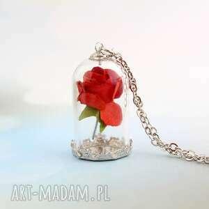 Naszyjnik róża, piękna, bestia, klosz, płatek, łańcuszek