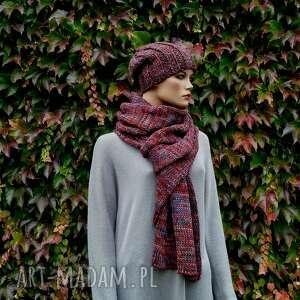 kolorowy wełniany szal unisex, na prezent, zimowy szal, z wełny