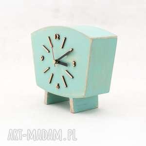 drewniany miętowy zegar drewniany, drewno, pastelowy zegar, biurkowy
