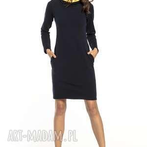 sukienki sportowa sukienka z kominem i kieszeniami, t294, granat żółty