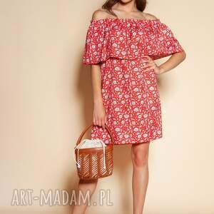 sukienki krótka sukienka hiszpanka - suk201 czerwony wzór