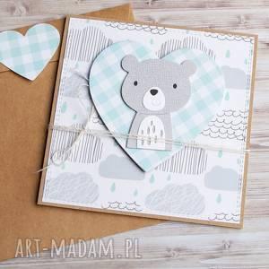 ręczne wykonanie kartki miś franio:: kartka na urodziny, roczek
