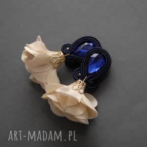 klipsy sutasz z kwiatkiem, sznurek, eleganckie, wiszące, granatowe