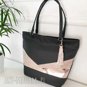 Camilla tote bag black&rose gold torebki black pearl cat torebka