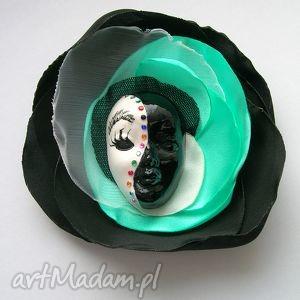 Broszka z Kolekcji Masquerade - Mięta, broszka, maska, wenecka, miętowy, cyrkonie