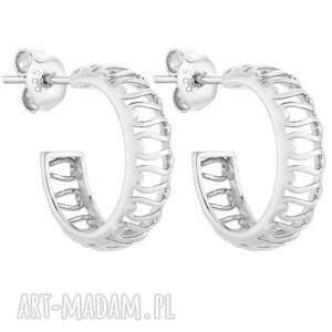 srebrne ażurowe kolczyki - kółka, eleganckie, srebro925