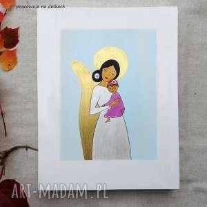 obrazek na chrzest święty - dziewczynka, mała anioł stróż, pamiątka