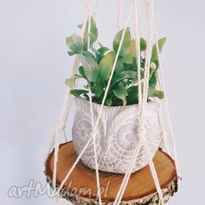 kwietnik wiszący makrama z deseczką - ,kwietnik,makrama,drewno,skandynawska,kwiaty,