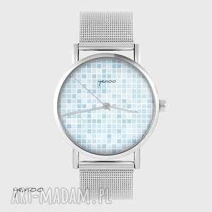 handmade zegarki zegarek, bransoletka - pixel niebieski metalowy