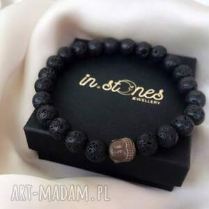 bransoletka dla niego - czarna lawa, męska biżuteria