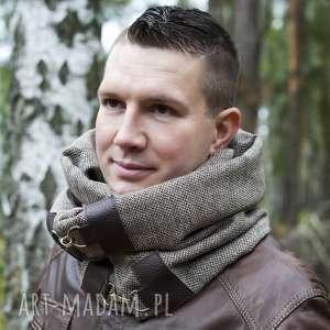 hand-made szaliki szal męski, komin unisex, wełna ze skórą - brązowa